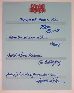 Carrying me home to see my kin. Lynyrd Skynyrd Signed Autograph Sweet Home Alabama Lyrics By 4 Members Ebay