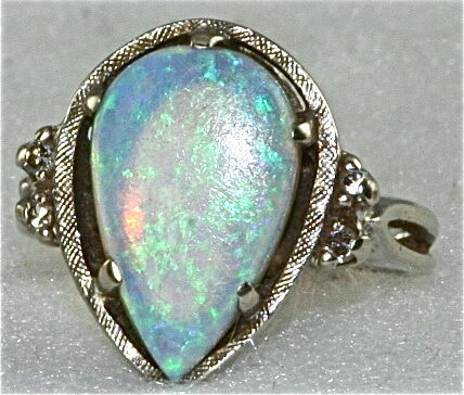 VTG 14K WHITE GOLD LARGE OPAL DIAMOND RING SIZE 35 EBay