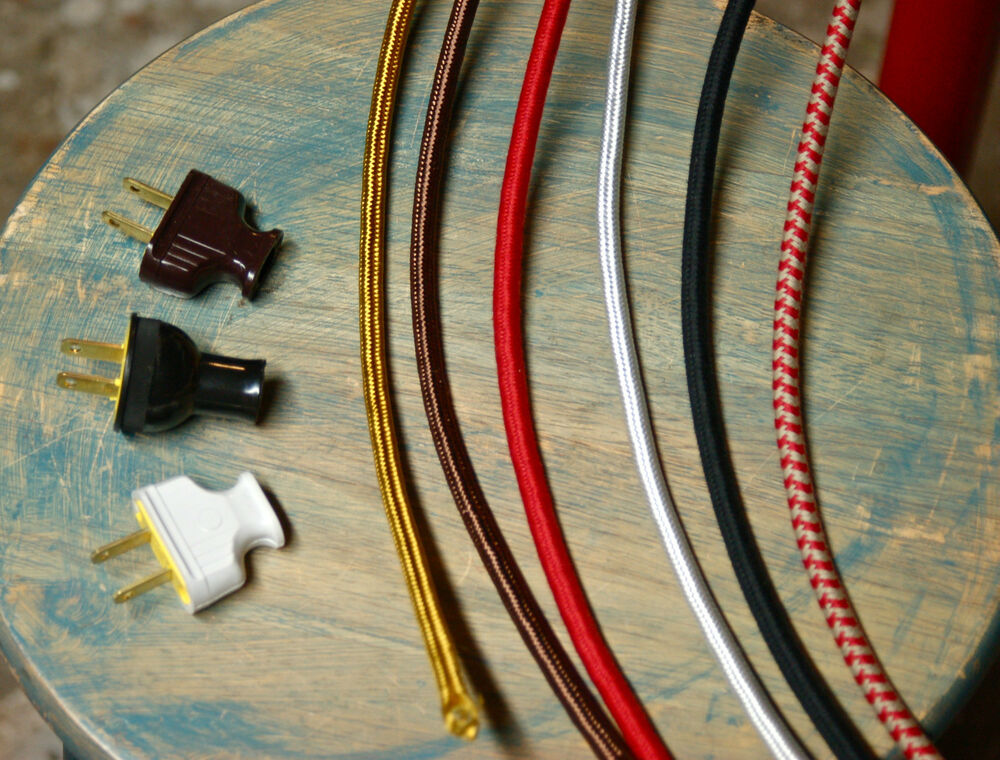 8 3 Wire Round Cloth Covered Cord Amp Plug 18ga Vintage
