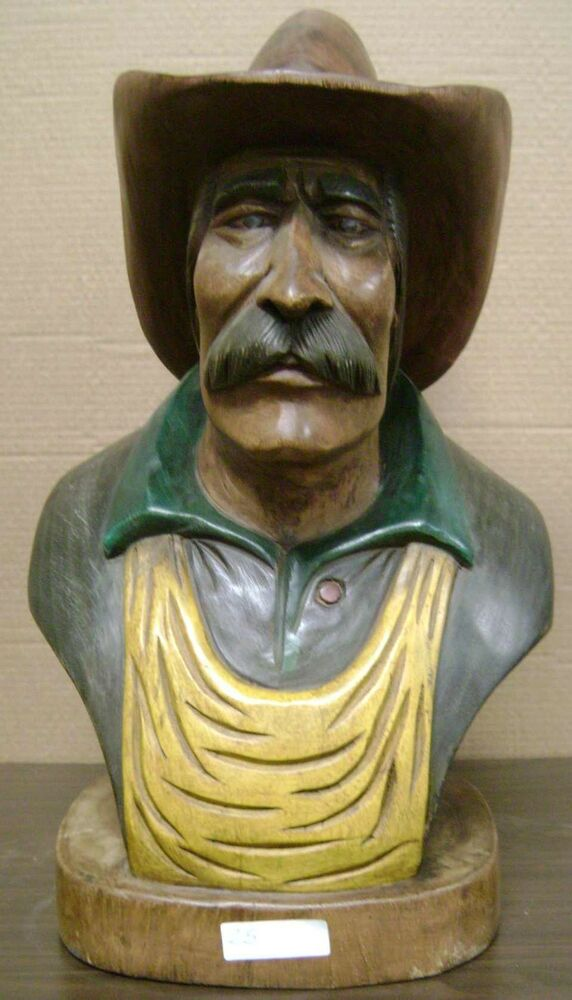 Cowboy Bust Hand Carved Wood 25 Tall Sns25 EBay