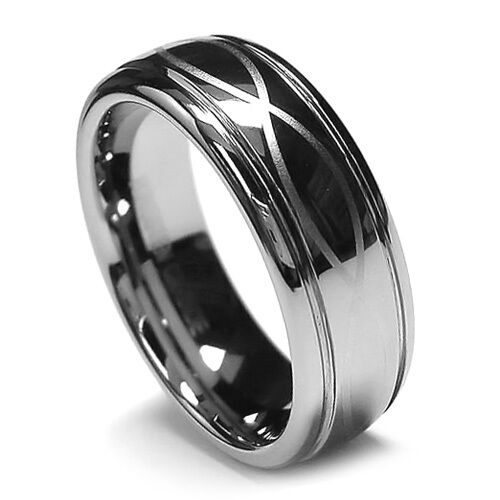 8MM Mens Tungsten Ring Wedding Band Infinity Ring Step