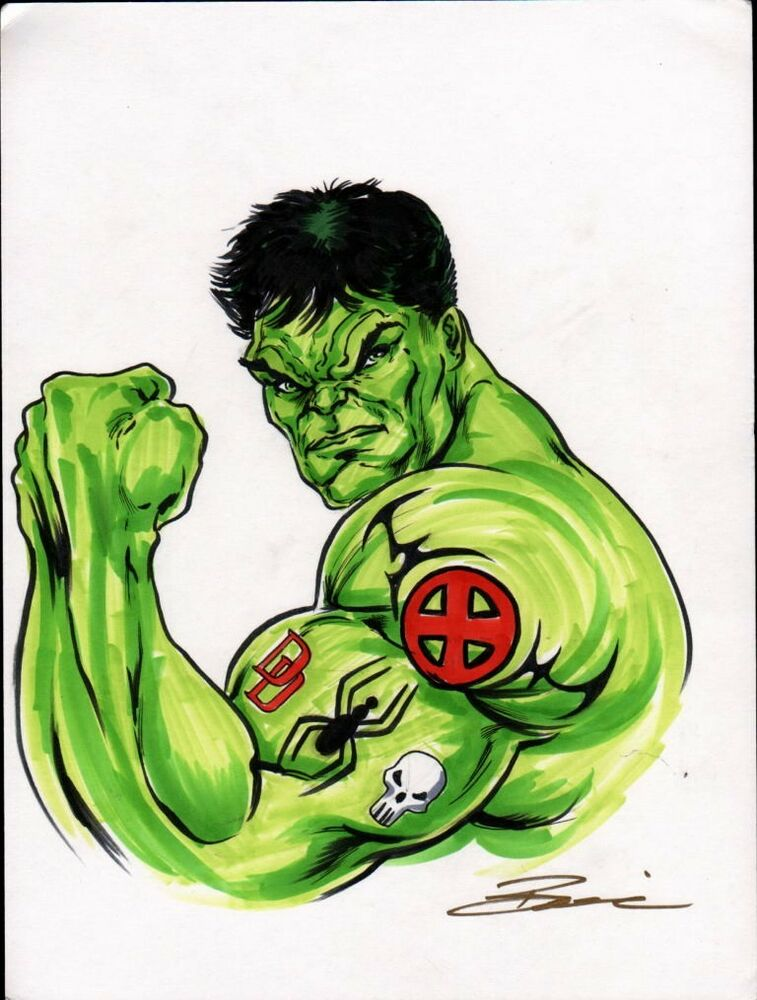 ORIGINAL ART INCREDIBLE HULK By Artist Damon Bowie
