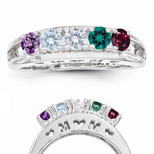 Sterling SILVER MOM Birthstone Ring 1 5 Stones Mothers