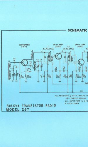 Nice *COPY* Bulova 267 AM Transistor Radio Schematic
