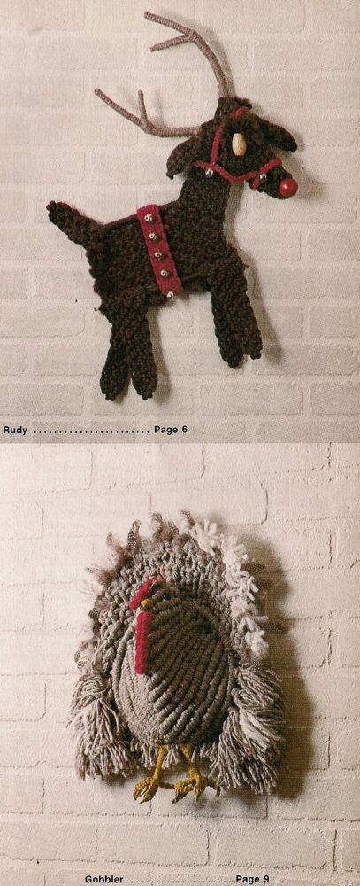 Reindeer Amp Turkey Wall Hanging Patterns 1909 Macrame