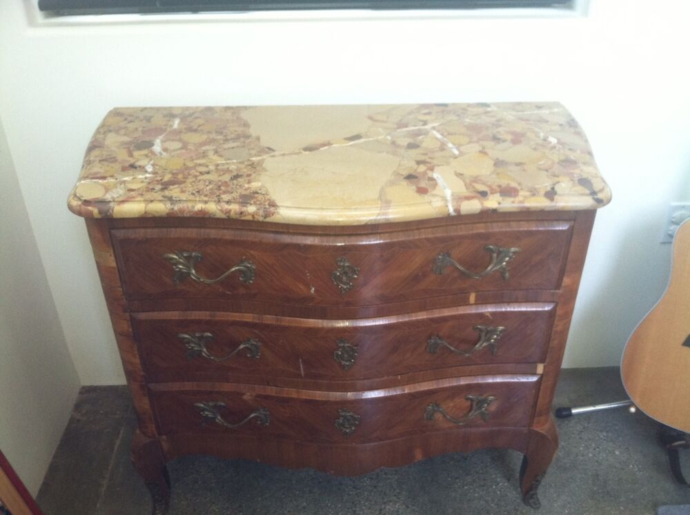 French Antique Louis XV Style Marble Top Commode Dresser