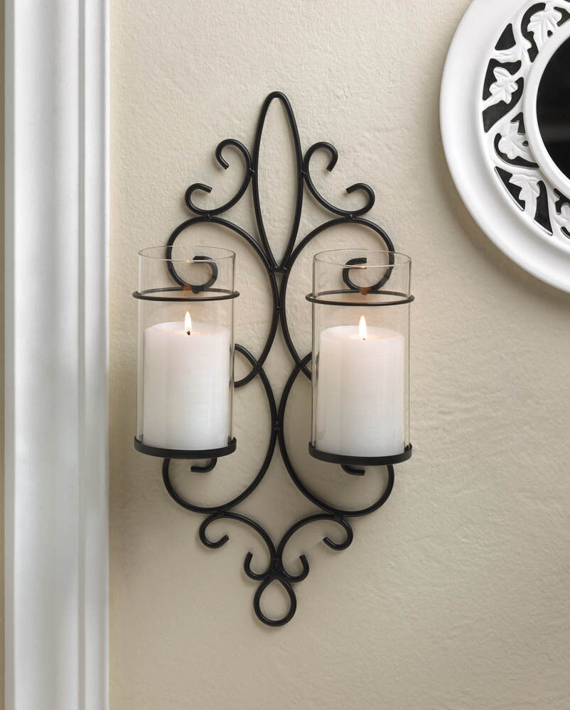 Black iron scroll Artisanal Sconce WALL mount hurricane ... on Wall Mounted Candle Sconce id=35129