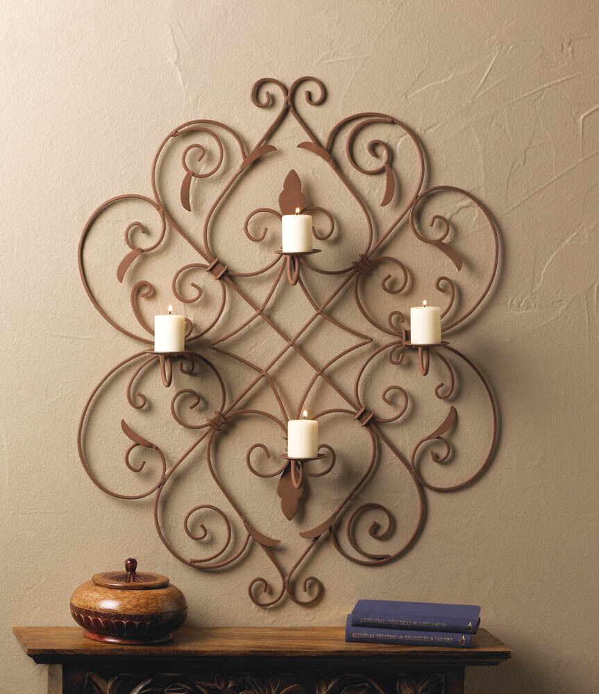 large bronze brown medallion scroll tuscan Artisanal ... on Large Wall Sconces Candle Holders Decorative id=88645