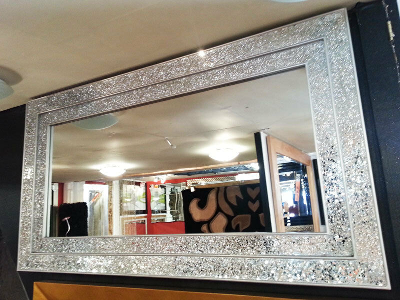 Large Crackle Silver Glass Mosaic Wall Mirror Double Frame