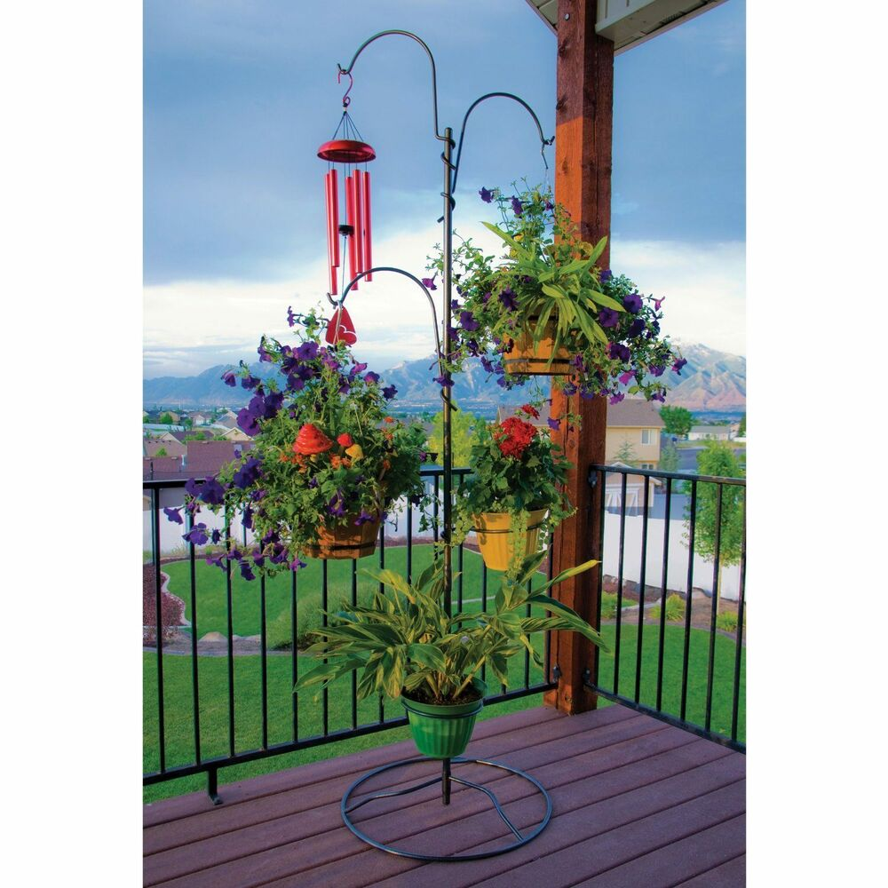 Outdoor Plant Stand Hanging Basket Holder Tree Flower Pot ... on Hanging Stand For Plants  id=35820