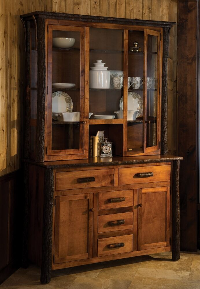 Amish Hickory Twig Log Hutch Dining Room Furniture Rustic