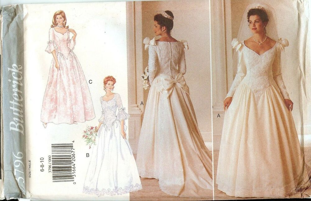Butterick 3796 Bridal Wedding Gown Dress Sewing Pattern