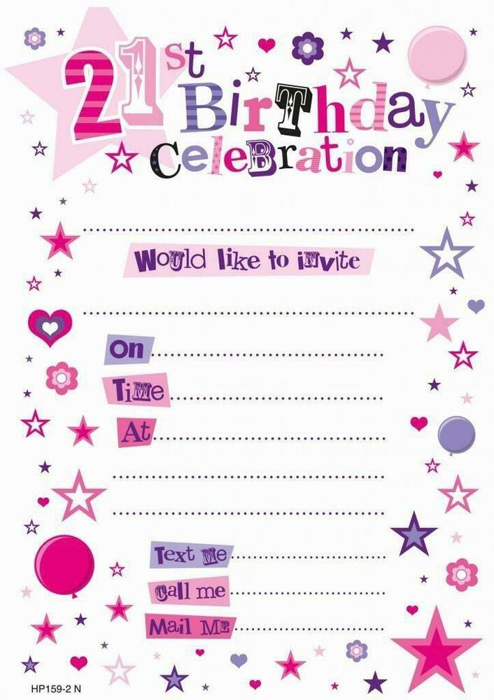 Pink 21st Birthday Female Pack Of 20 Party Invitations And Envelopes New Gift