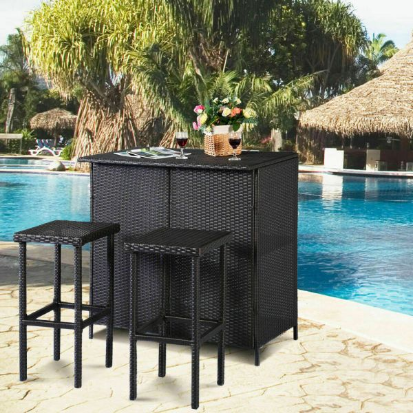 outdoor patio bar sets furniture 3PC Outdoor Rattan Wicker Bar Set Patio Outdoor Table & 2
