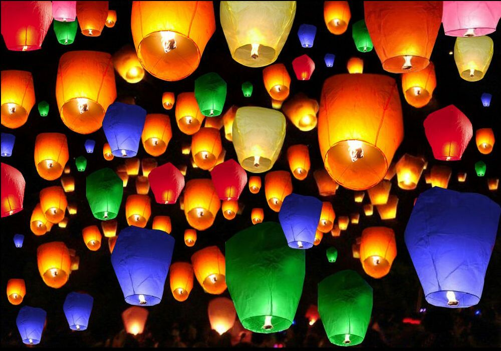 50pcs Mix Color Chinese Paper Lanterns Sky Fire Fly Candle Lamp For Wish Wedding EBay