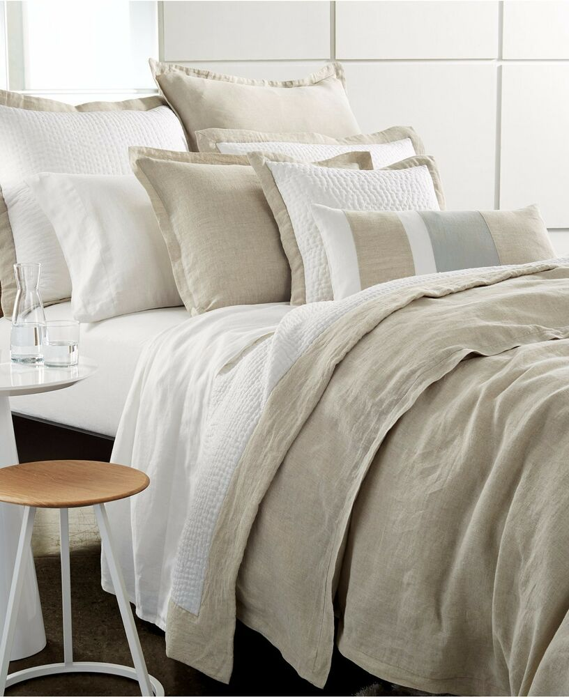Hotel Collection Voile Linen Natural Beige White Queen