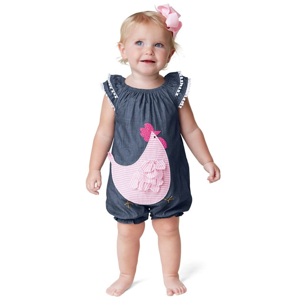Mud Pie MK7 Farmhouse Baby Girl Chambray French Hen Bubble