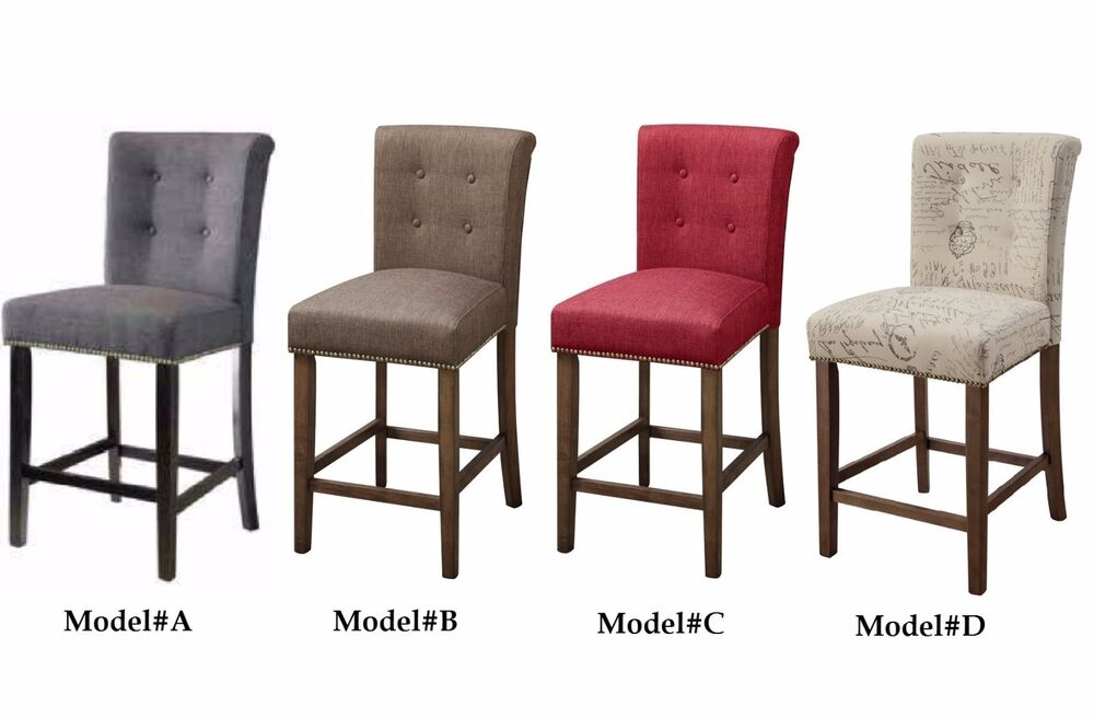 2-pc Fabric Modern Counter Height Stools -24'' Seat H Wood