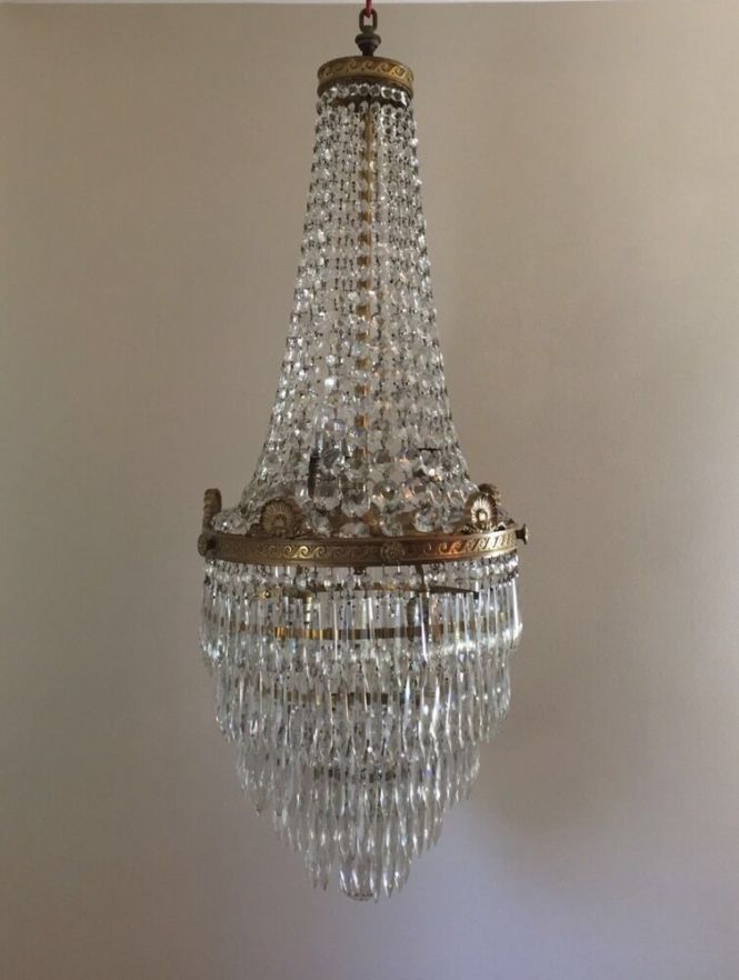 Antique French Empire Brass Beaded Basket Crystal Chandelier Wedding Cake