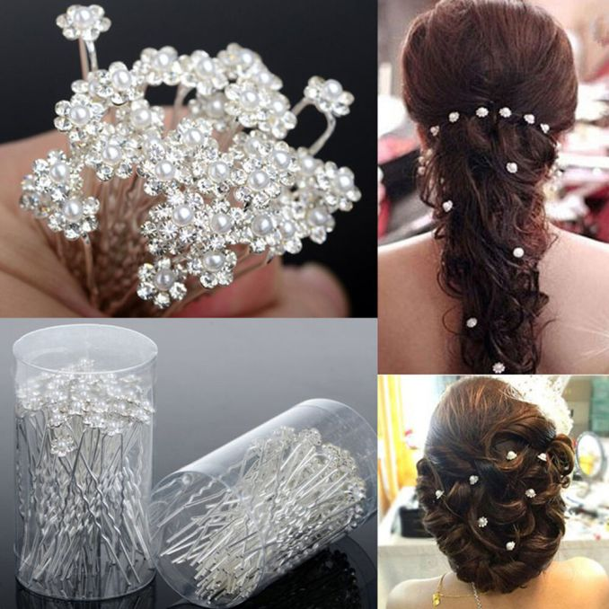 40 pcs wedding hair pins crystal pearl flower bridal hairpins accessories nj | ebay