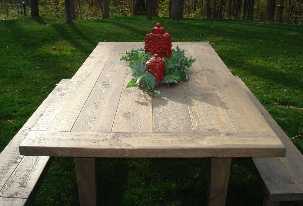 Plank Farmhouse Dining Table Set Bench Rustic Kitchen