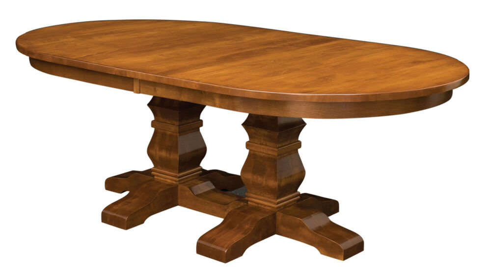 Large Amish Oval Double Pedestal Dining Room Table Solid