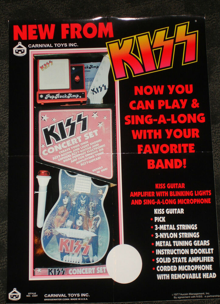 Kiss 1977 Toy Guitar Microphone Concert Set Poster Gene Simmons Paul Stanley EBay