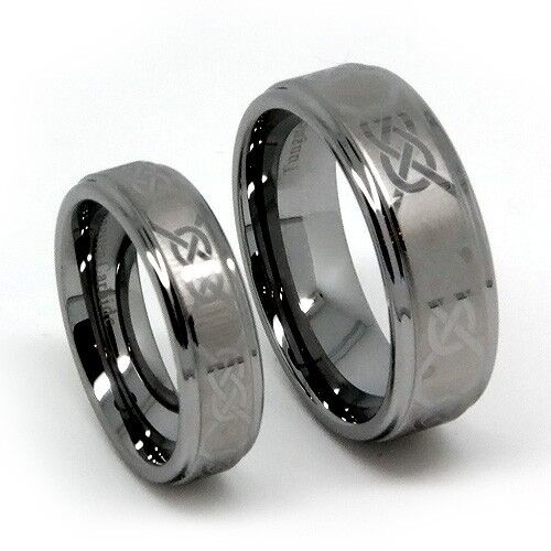 Matching Wedding Band Set Tungsten Rings Laser Etched