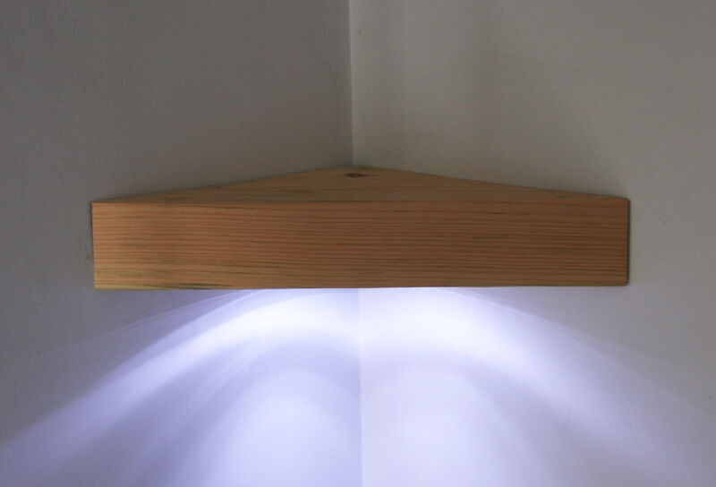 Corner Floating Shelf Solid Pine Led Wooden Handmade Wall