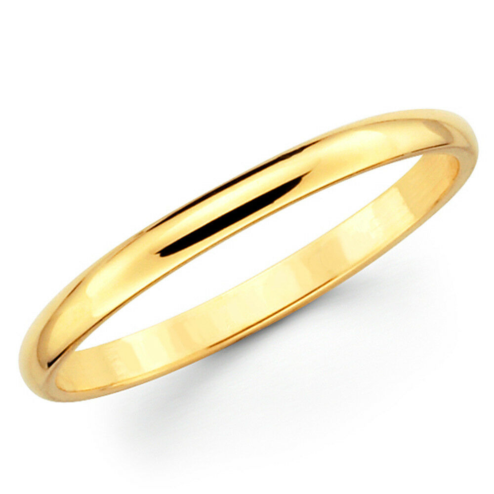 10K Solid Yellow Gold 2mm Plain Mens And Womens Wedding