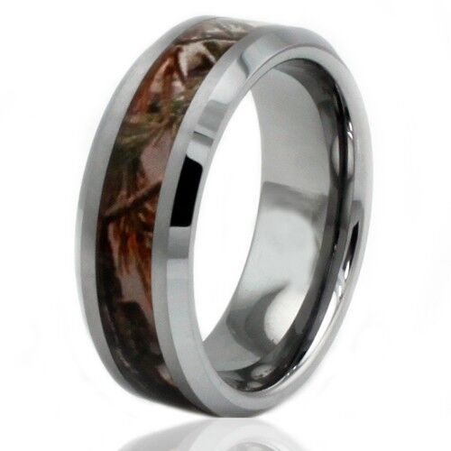 Mens Tungsten Carbide Forest Woods Camouflage Engravable