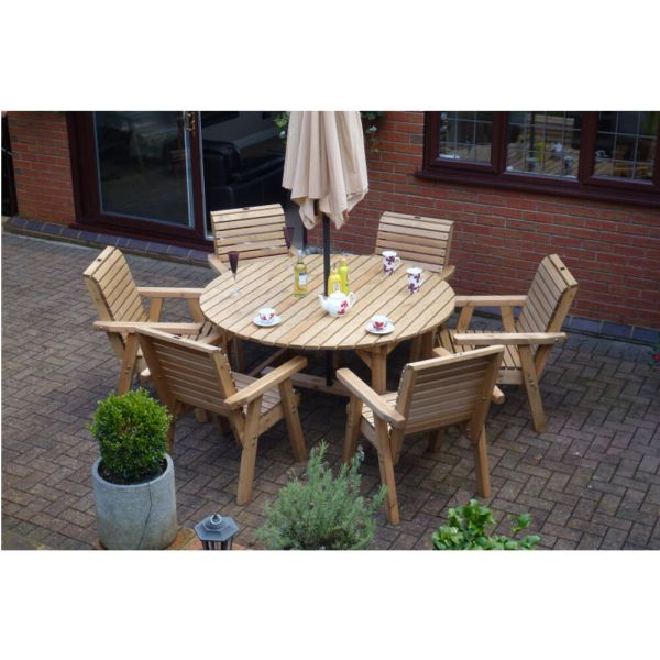 wood patio furniture table and chairs Wooden Garden Furniture Round Table & 6 High Back Chairs