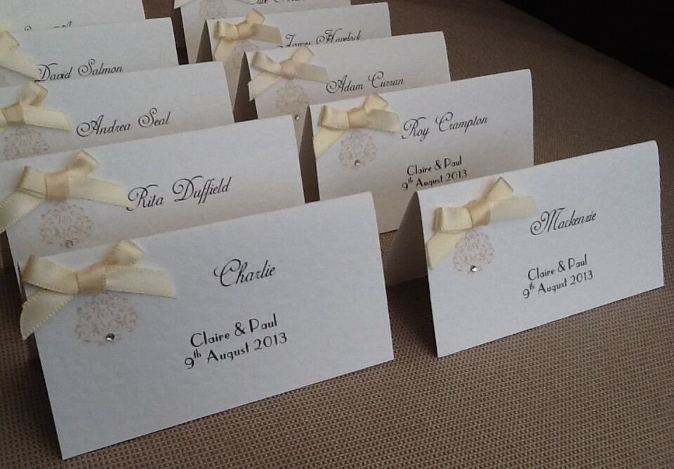 10 X Handmade Personalised Vintage Style Name Place Cards