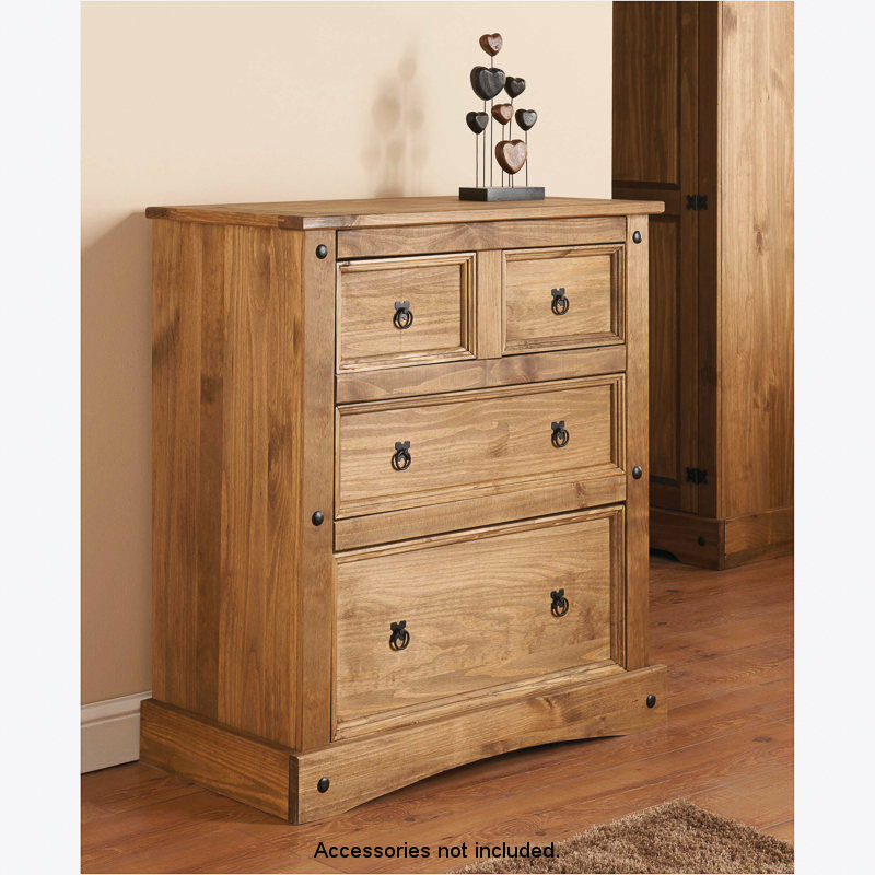RIO SOLID NATURAL PINE WOOD 4 DRAWER CHEST EBay