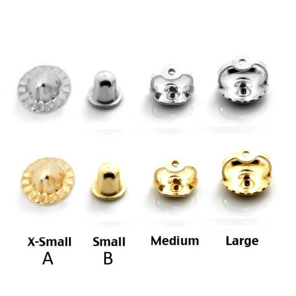 14k Solid White & Yellow Gold Screw Backs Earrings ...