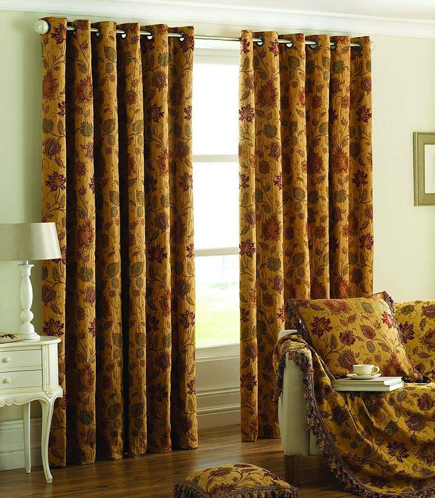 90 X 90 Drop HEAVY WEIGHT CHENILLE TAPESTRY EYELET CURTAIN PAIR PERIOD STYLE EBay