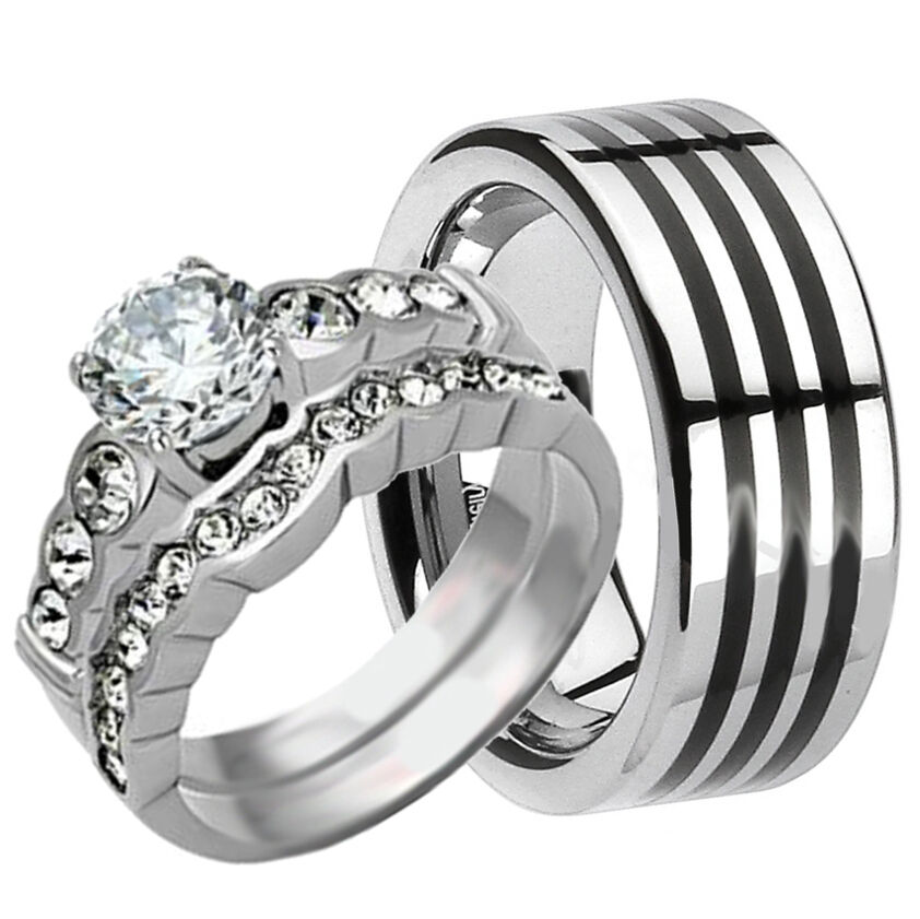His Hers 3 Pcs Mens TUNGSTEN And Womens Stainless Steel