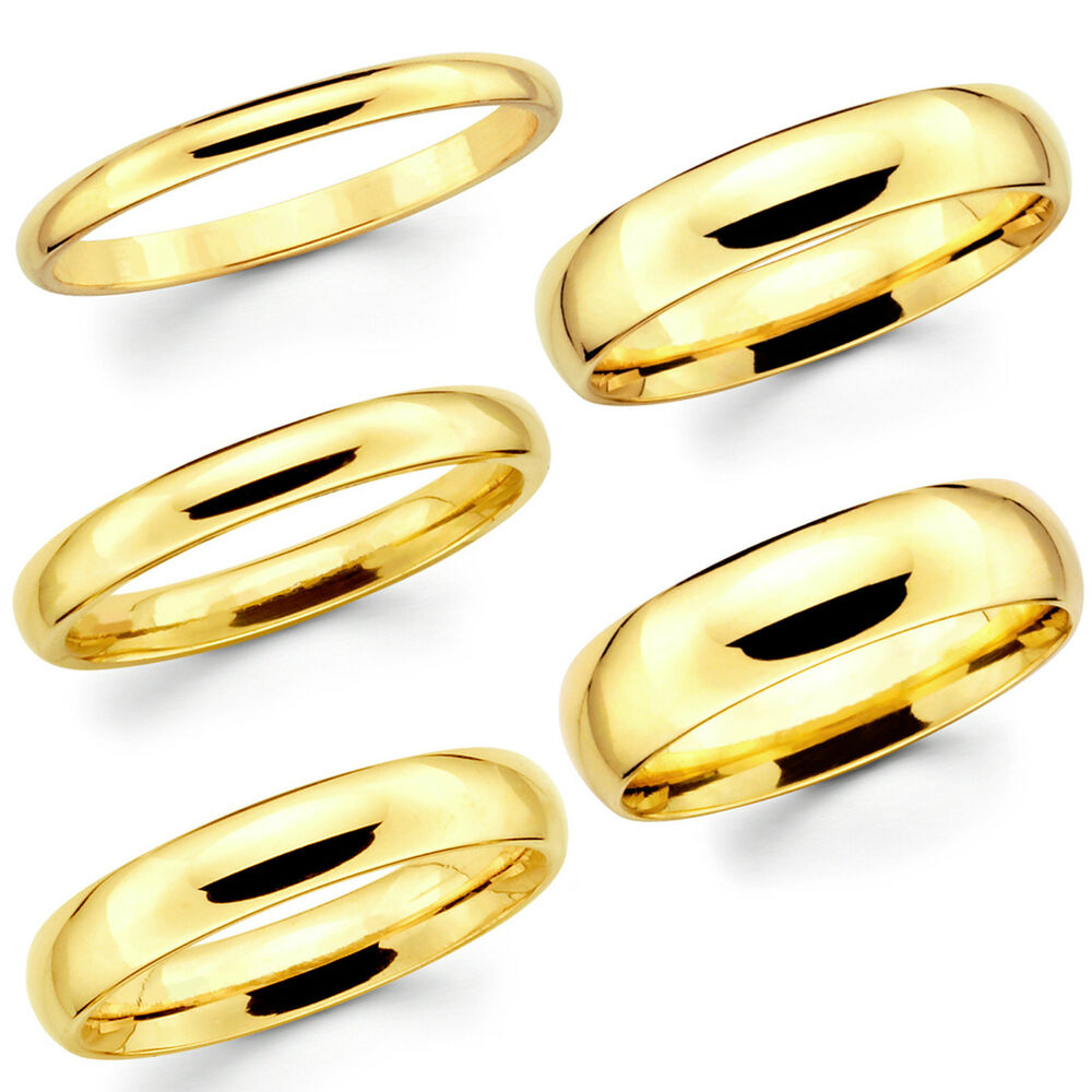 Solid 14K Yellow Gold 2mm 3mm 4mm 5mm 6mm Comfort Fit