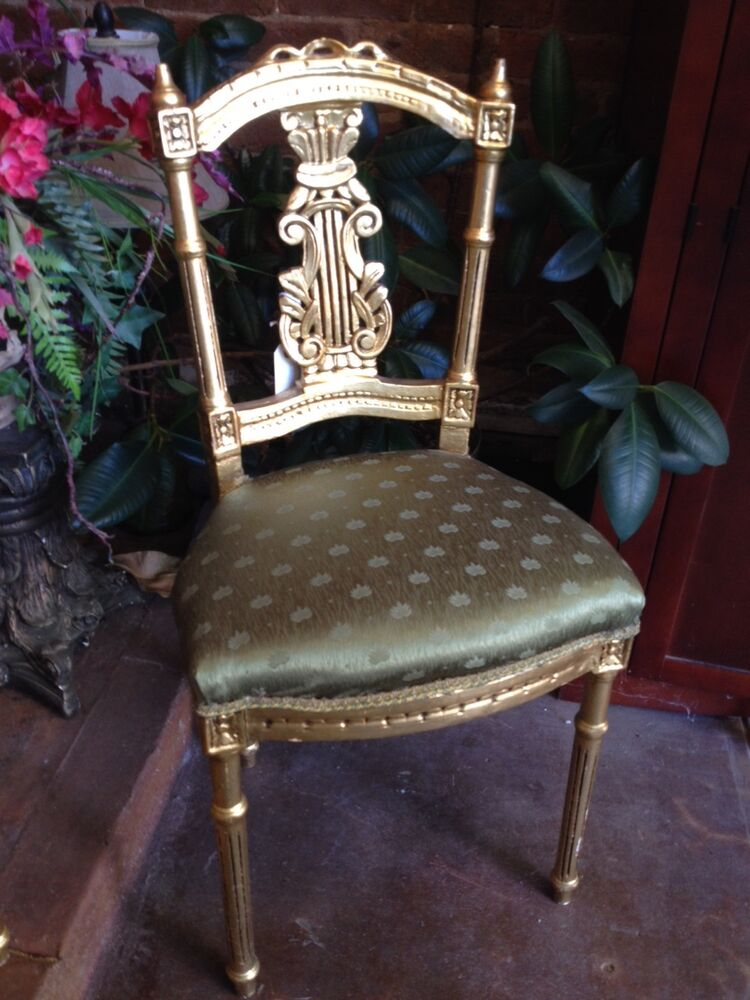 Antique French LOUIS XVI Gold Gilt Ornate Carved CHAIRS