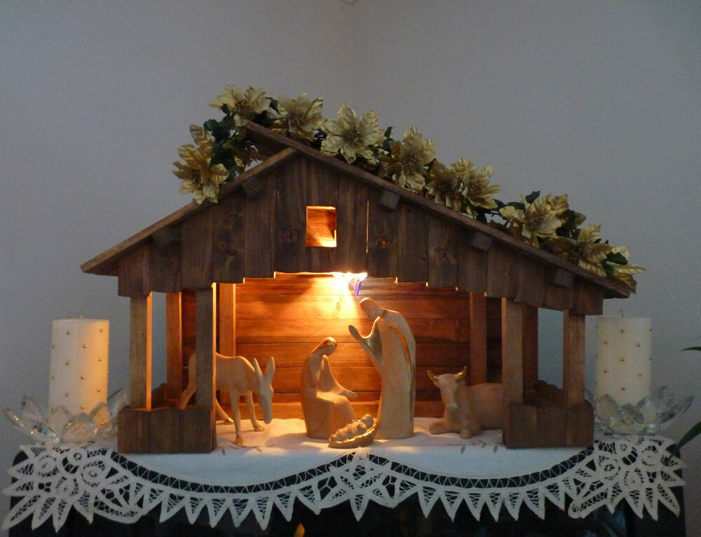 Handmade Christmas Nativity Stables EBay