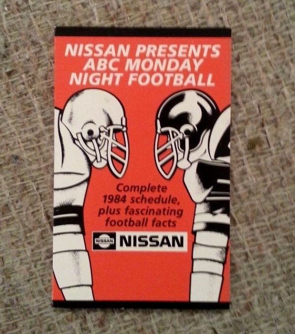 1984 Monday Night Football Schedule from Nissan | eBay