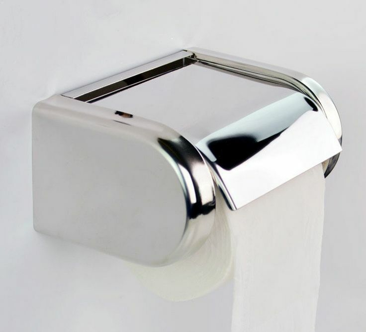 Wall Mounted Chrome Finish Toilet Paper Holder Tissue Box ... on Wall Mounted Tissue Box Holder id=80058