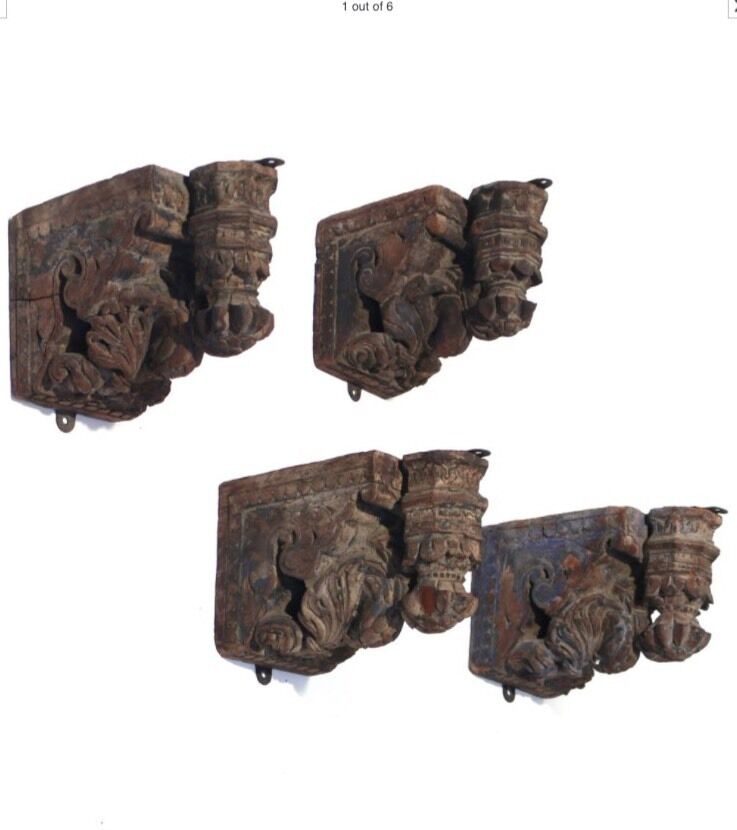 Antique Set Of 4 18th Century Italianate Carved Wood
