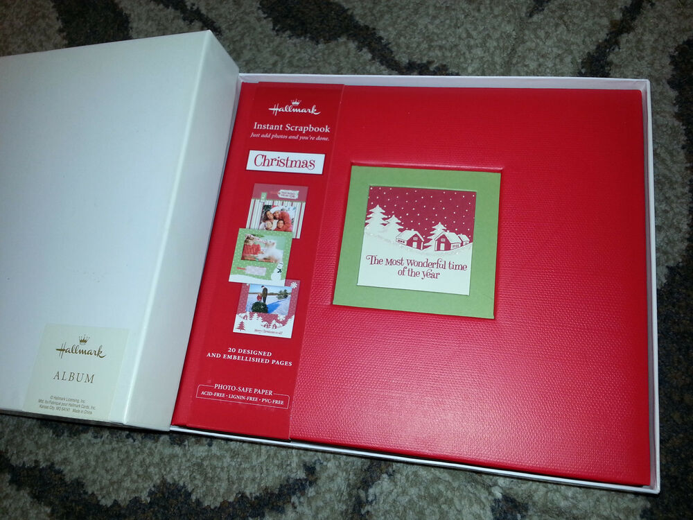 HALLMARK Photo Album CHRISTMAS INSTANT SCRAPBOOK 20 Decorated Pages 40 Stickers EBay