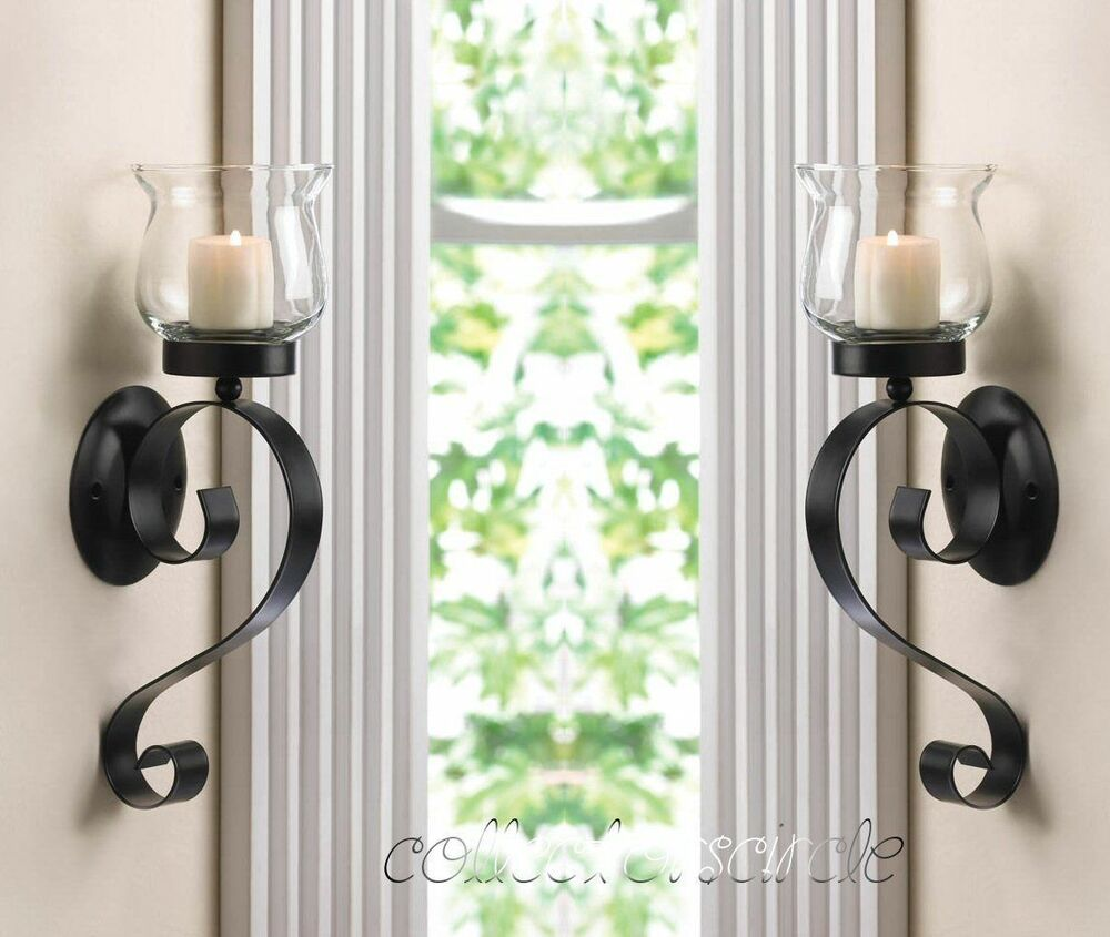 SET OF 2 SCROLLING CANDLE WALL MOUNT SCONCE | eBay on Wall Mounted Candle Sconce id=97361