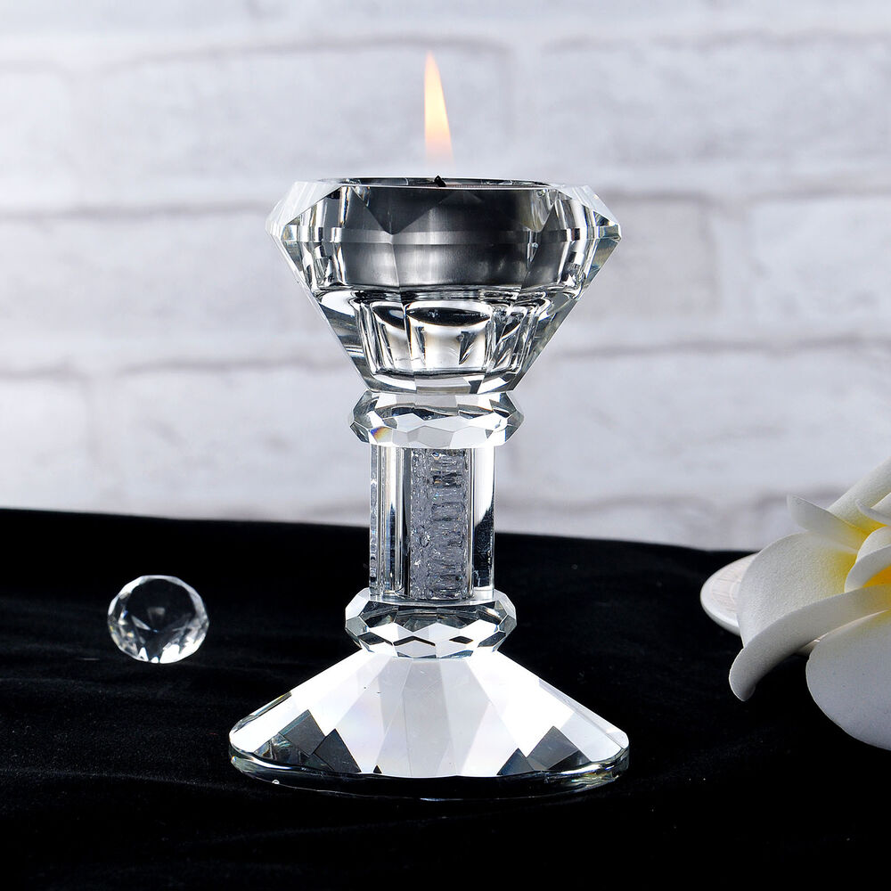 CRYSTAL CANDLESTICKS Candle Holder Pillar Holders Wedding ... on Decorative Wall Sconces Candle Holders Centerpieces Ebay id=39077