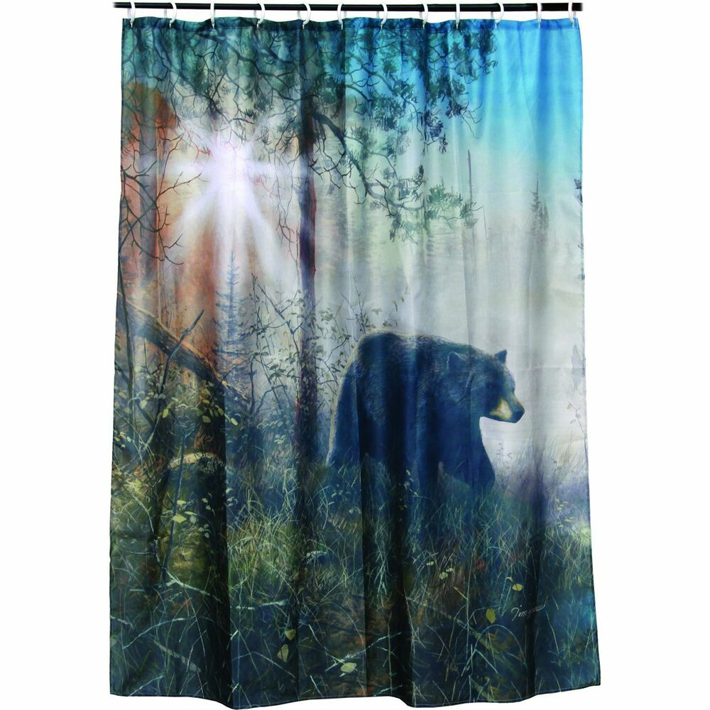 NEW Bear Shower Curtain Polyester Washable 70 X 72 Rings Included Lodge Theme EBay