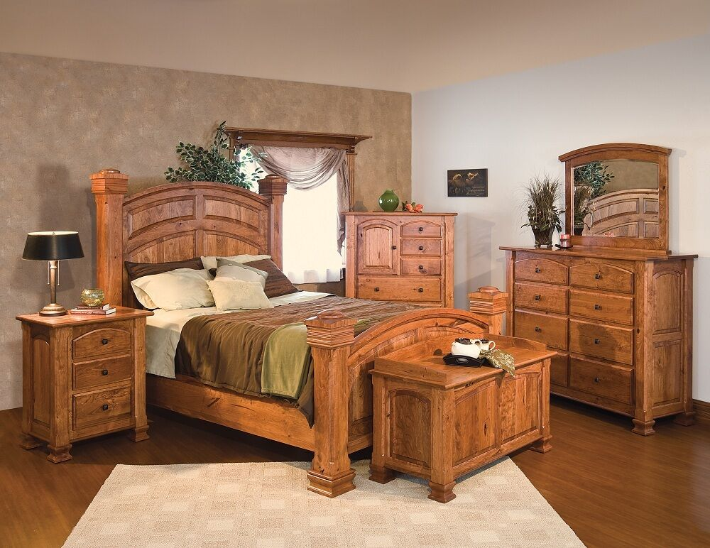 Luxury Amish Mission Bedroom Set Solid Rustic Cherry Wood Queen King     Luxury Amish Mission Bedroom Set Solid Rustic Cherry Wood Queen King   eBay
