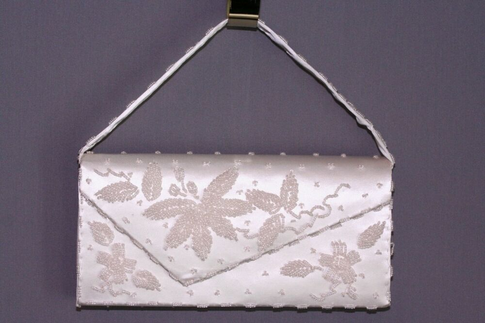 Vintage Wedding Evening Purse White Satin Beaded Clutch EBay