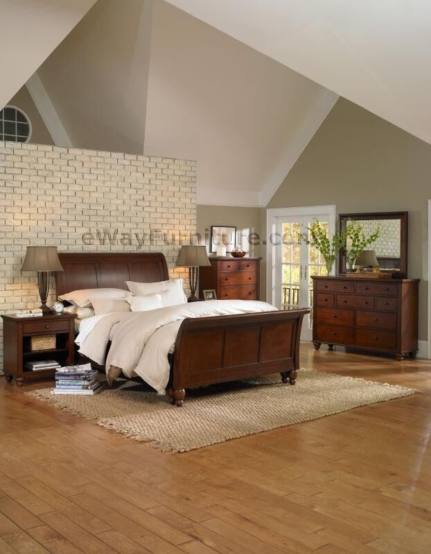 BROWN CHERRY FINISH SLEIGH KING BED ONLINE WOOD BEDROOM FURNITURE SET EBay